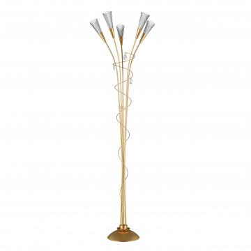 Торшер Lightstar Aereo 711753, 5xG9x25W, матовое золото, прозрачный, металл, стекло, хрусталь