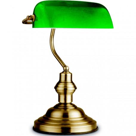 Настольная лампа Globo Antique 24934, 1xE27x60W, золото, зеленый, металл, стекло