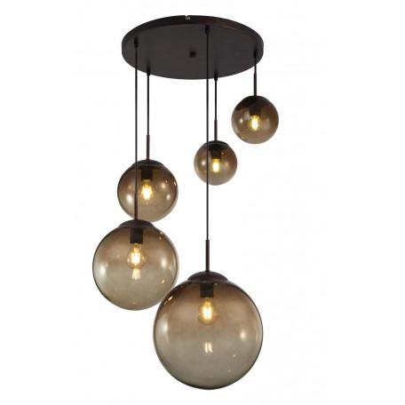 Подвесной светильник Globo Varus 15865-5, 5xE27x40W, коричневый, янтарь, металл, стекло