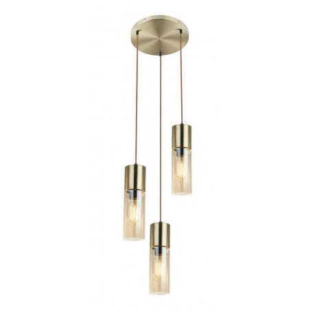 Подвесной светильник Globo Annika 21000-3HM, 3xE27x25W, золото, янтарь, металл, металл со стеклом