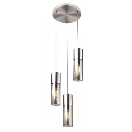 Подвесной светильник Globo Annika 21000-3HN, 3xE27x25W, никель, дымчатый, металл, металл со стеклом