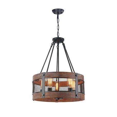 Подвесная люстра Freya Vittoria FR4561-PL-05-B, 5xE27x60W, черный, коричневый с черным, металл, дерево с металлом, металл с деревом