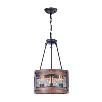 Подвесная люстра Freya Vittoria FR4561-PL-03-B, 3xE27x60W, черный, коричневый с черным, металл, дерево с металлом, металл с деревом