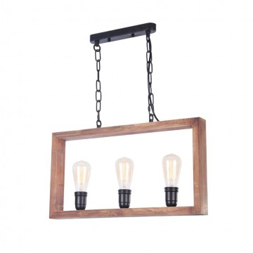 Подвесной светильник Freya Roberta FR4560-PL-03-B, 3xE27x60W, черный, коричневый, металл, дерево