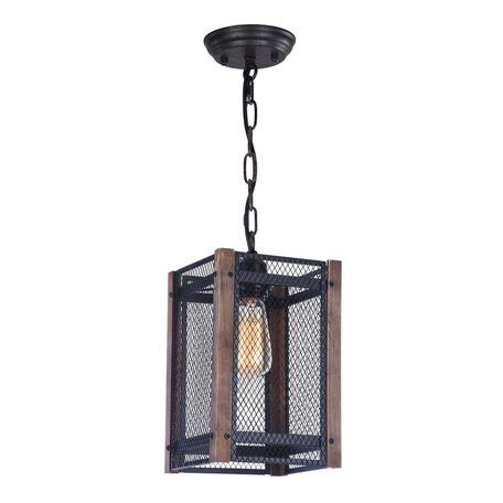 Подвесной светильник Freya Vittoria FR4561-PL-01-B, 1xE27x60W, черный, коричневый, металл, дерево - миниатюра 1