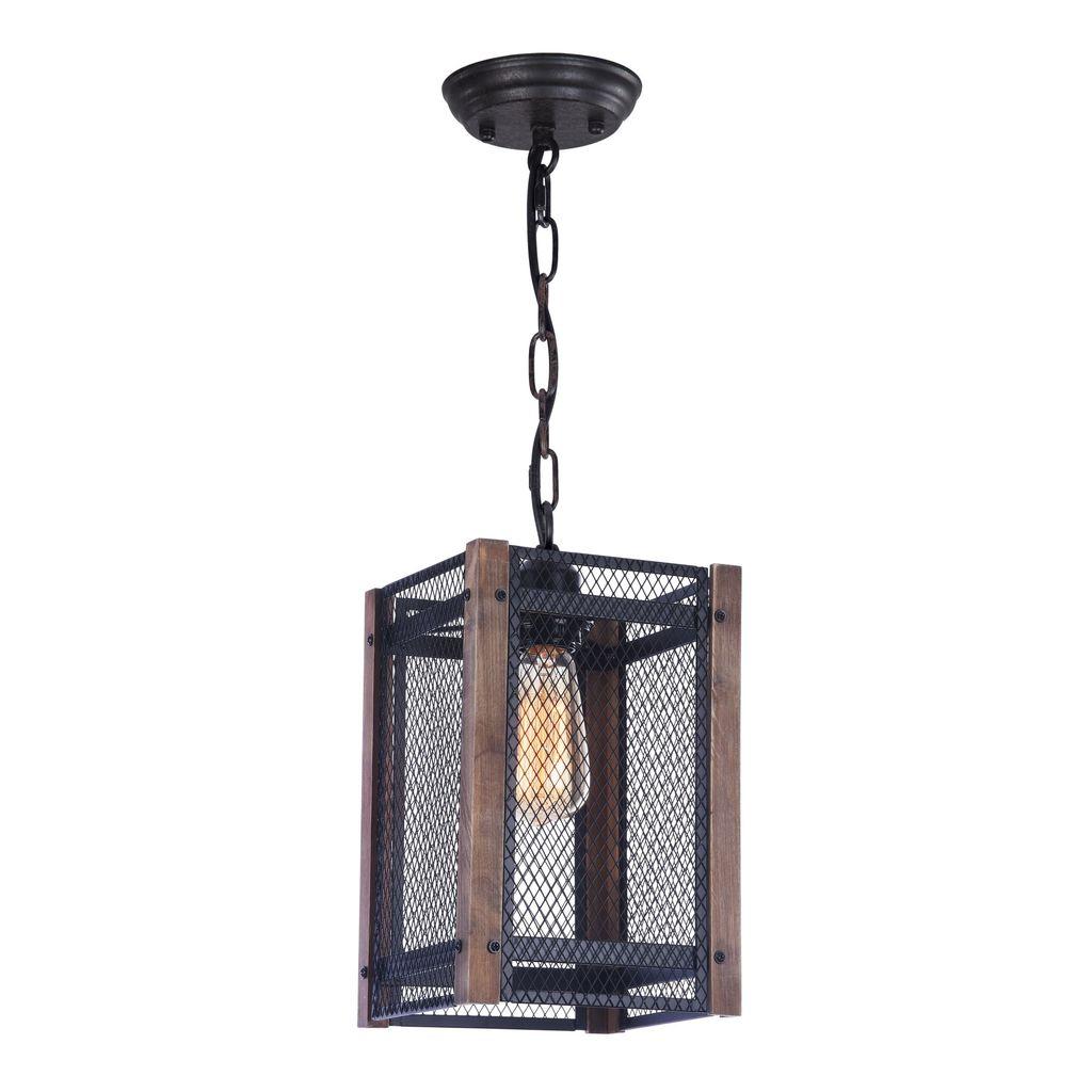 Подвесной светильник Freya Vittoria FR4561-PL-01-B, 1xE27x60W, черный, коричневый, металл, дерево - фото 1