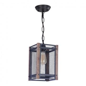 Подвесной светильник Freya Vittoria FR4561-PL-01-B, 1xE27x60W, черный, коричневый, металл, дерево - миниатюра 2