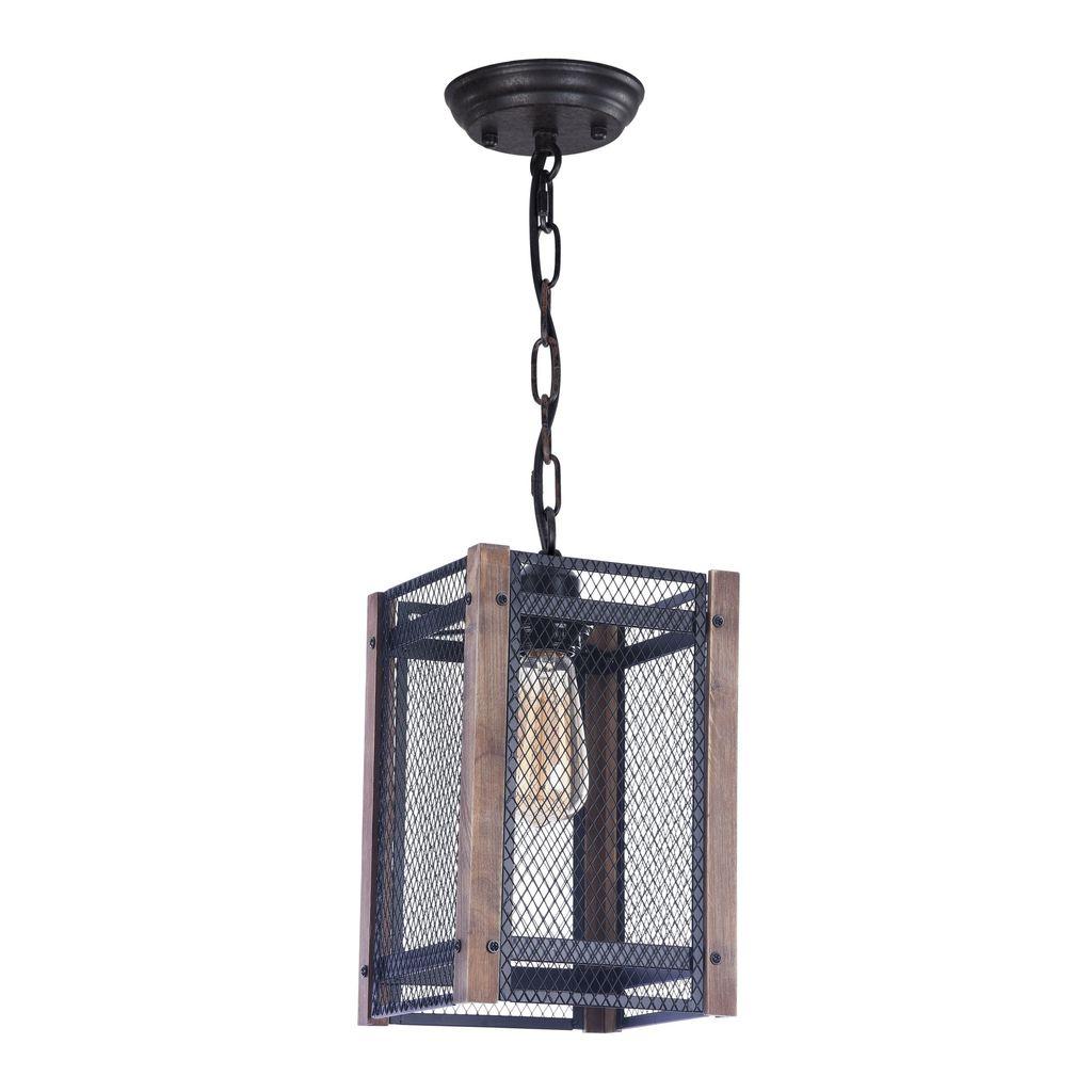 Подвесной светильник Freya Vittoria FR4561-PL-01-B, 1xE27x60W, черный, коричневый, металл, дерево - фото 2