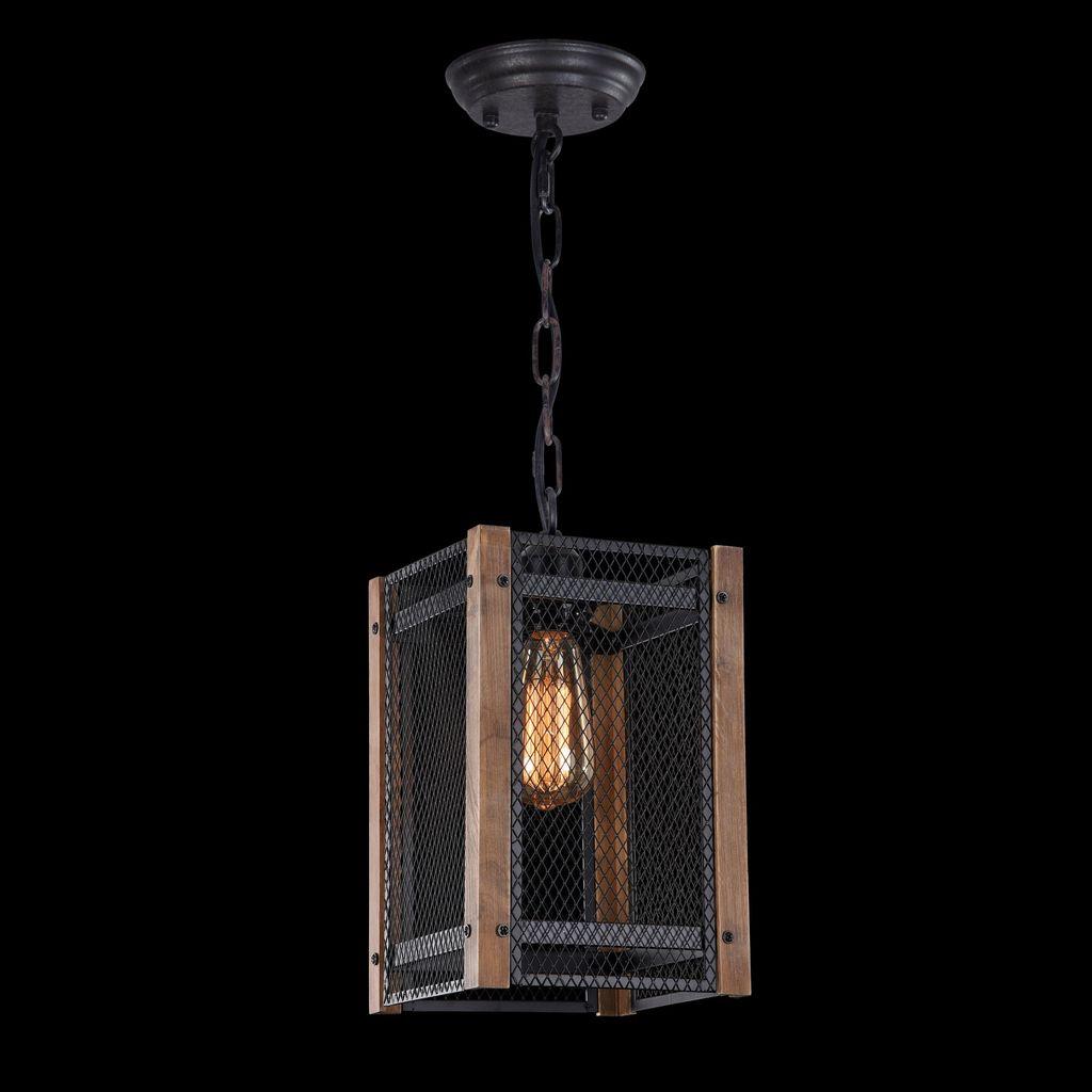 Подвесной светильник Freya Vittoria FR4561-PL-01-B, 1xE27x60W, черный, коричневый, металл, дерево - фото 3