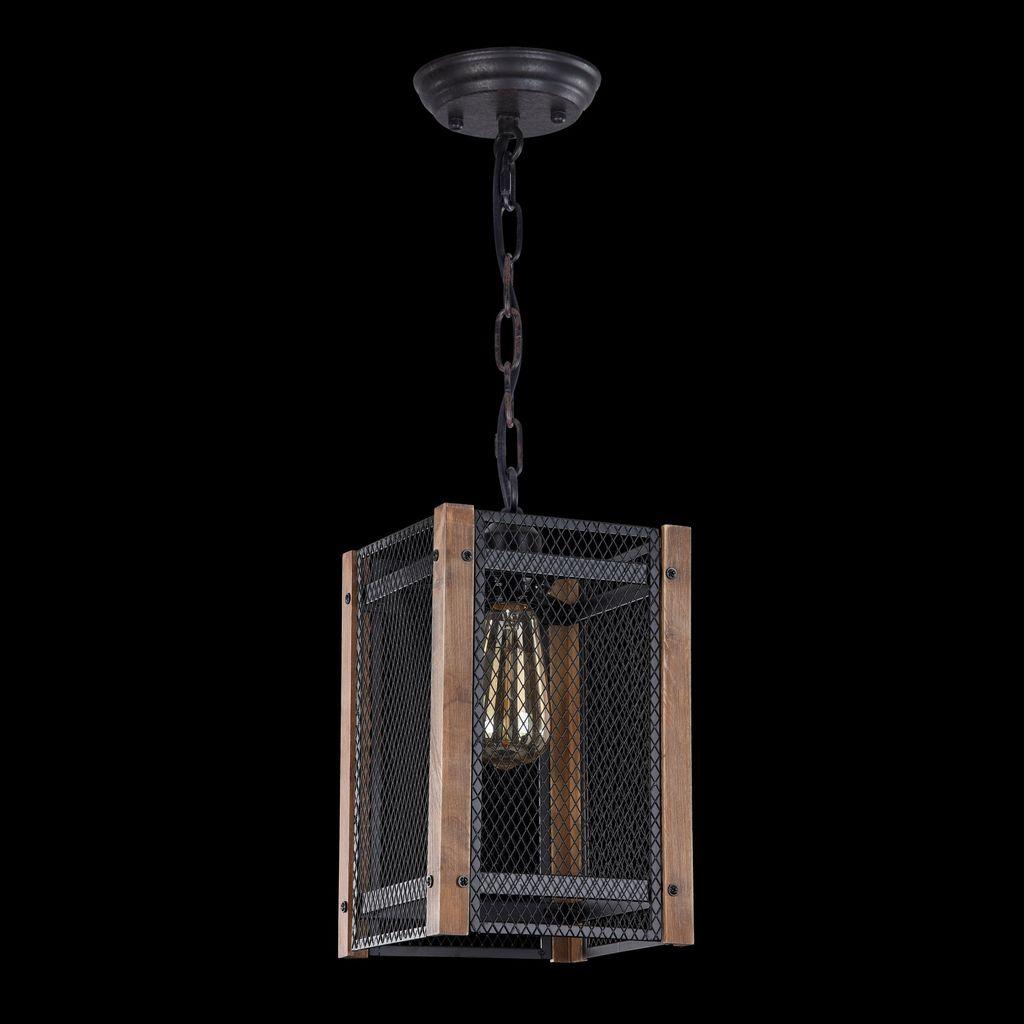 Подвесной светильник Freya Vittoria FR4561-PL-01-B, 1xE27x60W, черный, коричневый, металл, дерево - фото 4