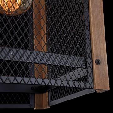 Подвесной светильник Freya Vittoria FR4561-PL-01-B, 1xE27x60W, черный, коричневый, металл, дерево - миниатюра 5