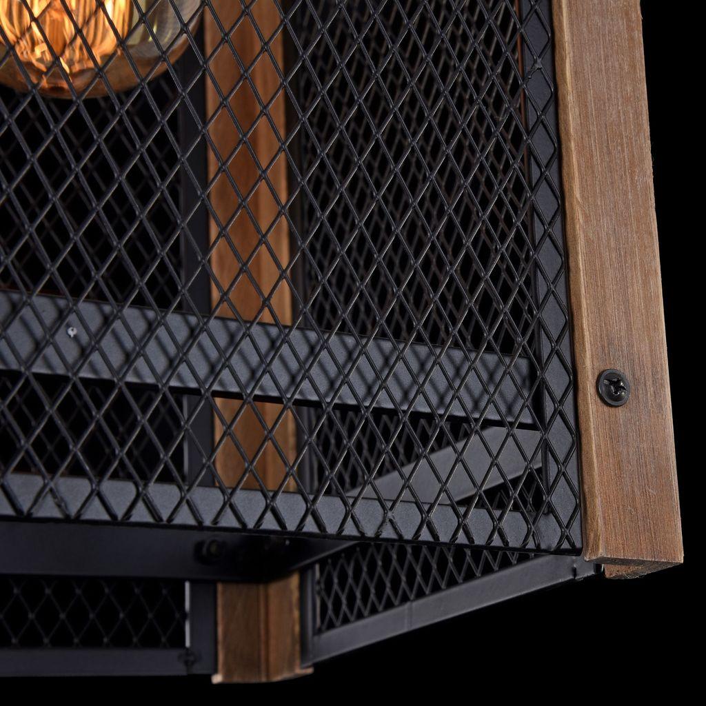 Подвесной светильник Freya Vittoria FR4561-PL-01-B, 1xE27x60W, черный, коричневый, металл, дерево - фото 5