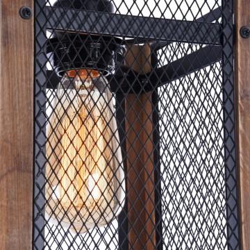 Подвесной светильник Freya Vittoria FR4561-PL-01-B, 1xE27x60W, черный, коричневый, металл, дерево - миниатюра 6