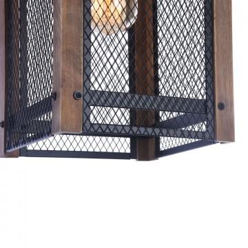 Подвесной светильник Freya Vittoria FR4561-PL-01-B, 1xE27x60W, черный, коричневый, металл, дерево - миниатюра 7