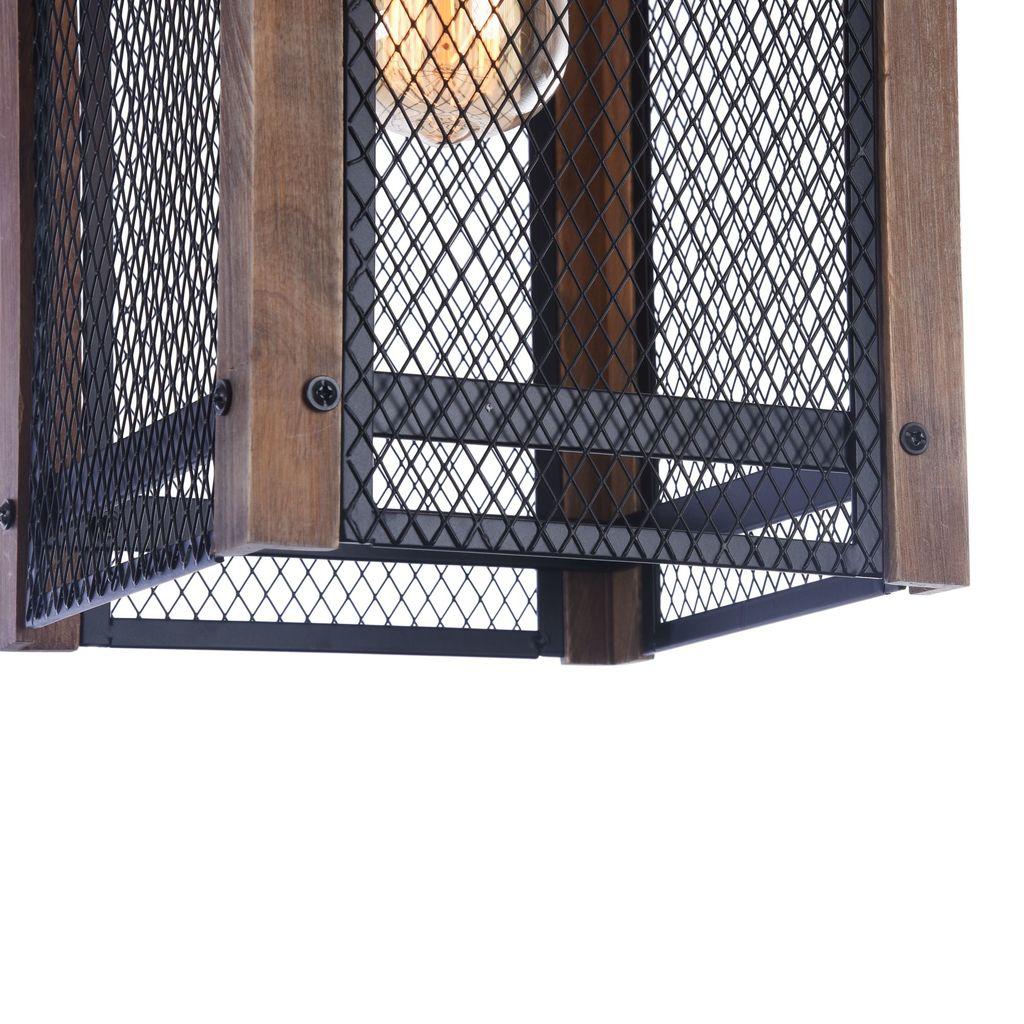 Подвесной светильник Freya Vittoria FR4561-PL-01-B, 1xE27x60W, черный, коричневый, металл, дерево - фото 7