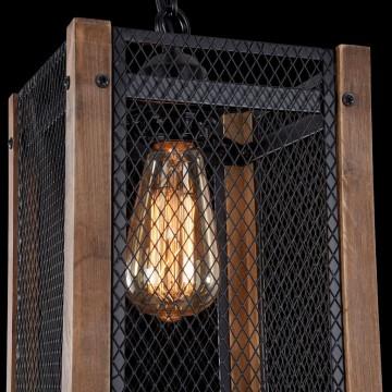 Подвесной светильник Freya Vittoria FR4561-PL-01-B, 1xE27x60W, черный, коричневый, металл, дерево - миниатюра 8