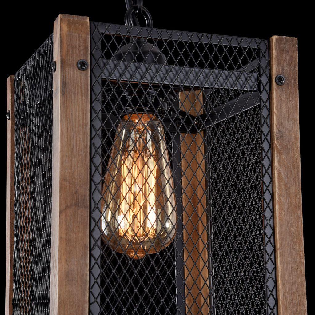 Подвесной светильник Freya Vittoria FR4561-PL-01-B, 1xE27x60W, черный, коричневый, металл, дерево - фото 8