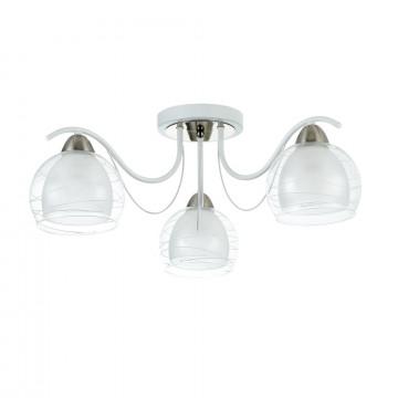 Потолочная люстра Freya Nikki FR5052-CL-03-W, 3xE14x60W, белый с никелем, белый с прозрачным, прозрачный с белым, металл, стекло - миниатюра 2