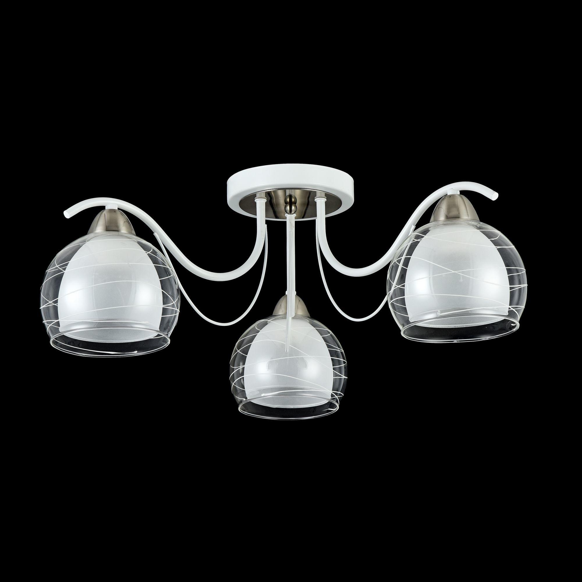 Потолочная люстра Freya Nikki FR5052-CL-03-W, 3xE14x60W, белый с никелем, белый с прозрачным, прозрачный с белым, металл, стекло - фото 3