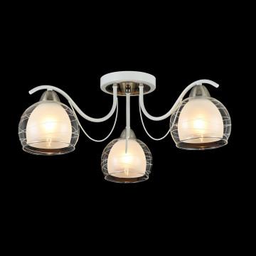 Потолочная люстра Freya Nikki FR5052-CL-03-W, 3xE14x60W, белый с никелем, белый с прозрачным, прозрачный с белым, металл, стекло - миниатюра 4