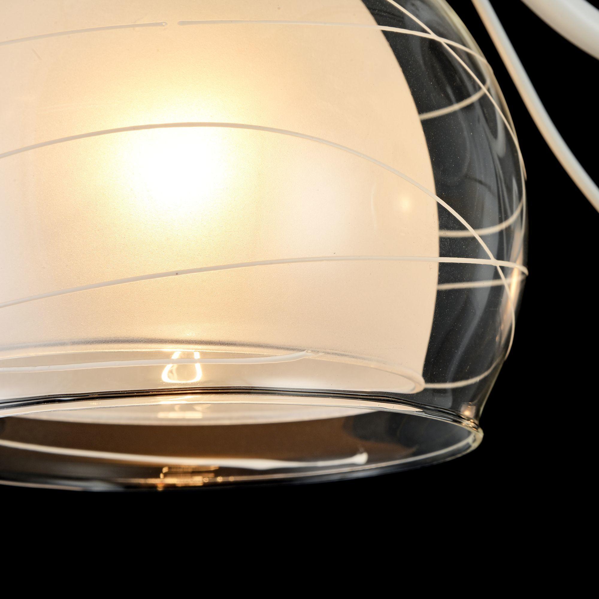 Потолочная люстра Freya Nikki FR5052-CL-03-W, 3xE14x60W, белый с никелем, белый с прозрачным, прозрачный с белым, металл, стекло - фото 5