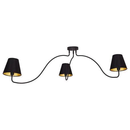 Потолочная люстра Nowodvorski Swivel 6558, 3xE14x40W, черный, золото, металл, текстиль