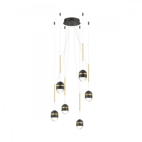 Светодиодная люстра-паук Odeon Light Minion 4118/30L, LED 30W, 4000K (дневной), черный, золото, металл, пластик
