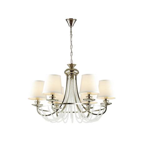 Подвесная люстра Odeon Light 4182/6, хром, белый, прозрачный, металл, текстиль, стекло