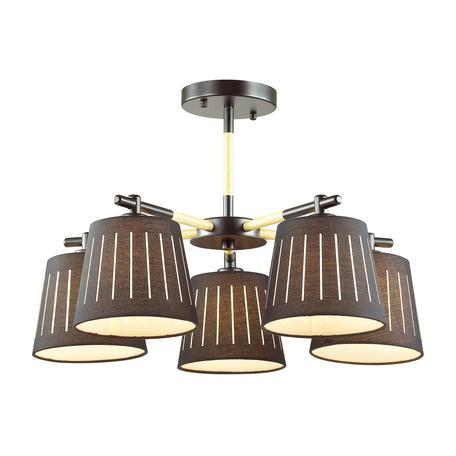 Потолочная люстра Odeon Light 4110/5, черный, коричневый, металл, дерево, текстиль