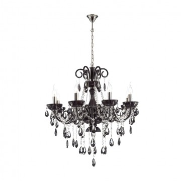 Подвесная люстра Odeon Light 4189/8, черный, хром, прозрачный, металл, стекло, хрусталь