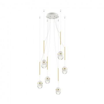Люстра-паук Odeon Light 4117/30L, белый, золото, металл, пластик