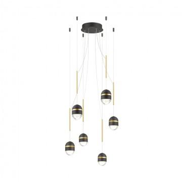 Люстра-паук Odeon Light 4118/30L, черный, золото, металл, пластик