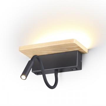 Настенный светодиодный светильник с полкой Odeon Light Woody 3868/8WL 3000K (теплый), черный, коричневый, металл