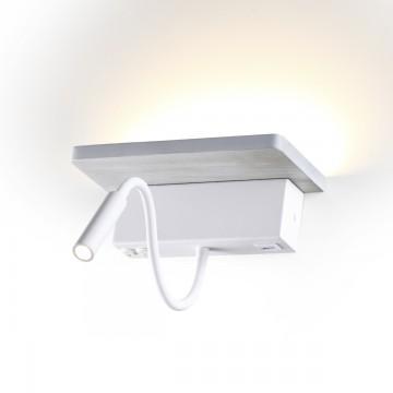 Настенный светодиодный светильник с полкой Odeon Light Woody 3869/8WL 3000K (теплый), белый, седой дуб, металл