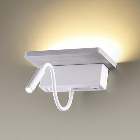 Настенный светодиодный светильник с регулировкой направления света с дополнительной подсветкой с полкой Odeon Light Hightech Woody 3869/8WL, LED 8W 3000K 560lm, белый, металл, дерево
