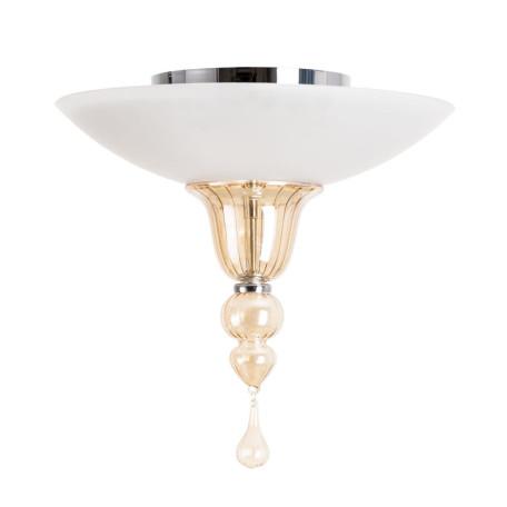 Потолочный светильник Divinare Goccia 4021/02 PL-3, 3xE14x60W, хром, белый, янтарь, металл, стекло, хрусталь