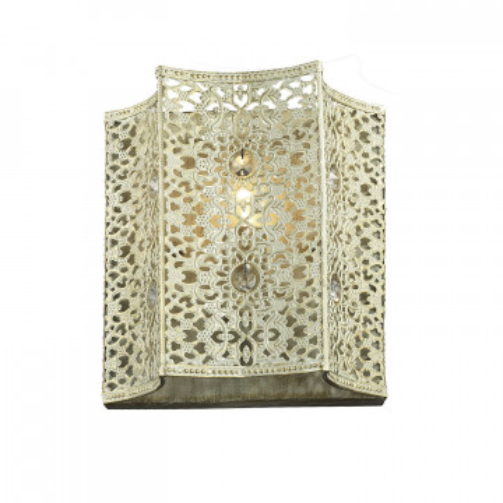 Бра Favourite Bazar 1625-1W, 1xE14x40W, белый с золотой патиной, прозрачный, металл с хрусталем