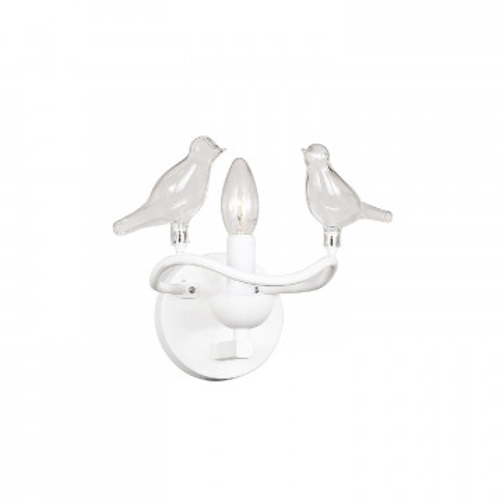Бра Favourite Pajaritos 1751-1W, 1xE14x40W, белый, прозрачный, металл со стеклом/хрусталем