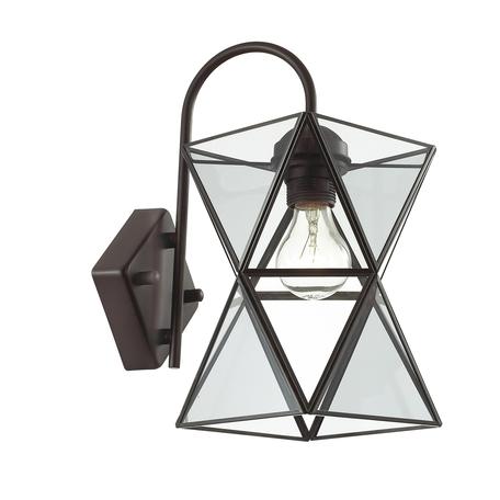 Бра Favourite Polihedro 1919-1W, 1xE27x60W, черный, дымчатый, прозрачный, металл, стекло