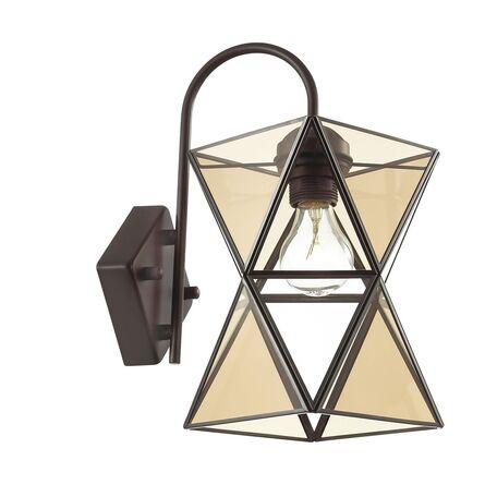 Бра Favourite Polihedro 1920-1W, 1xE27x60W, черный, коньячный, прозрачный, металл, стекло