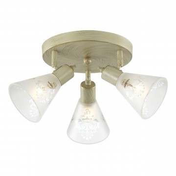 Потолочная люстра с регулировкой направления света Favourite Gumbata 1794-3U, 3xE14x40W, бежевый с золотой патиной, белый, металл, стекло