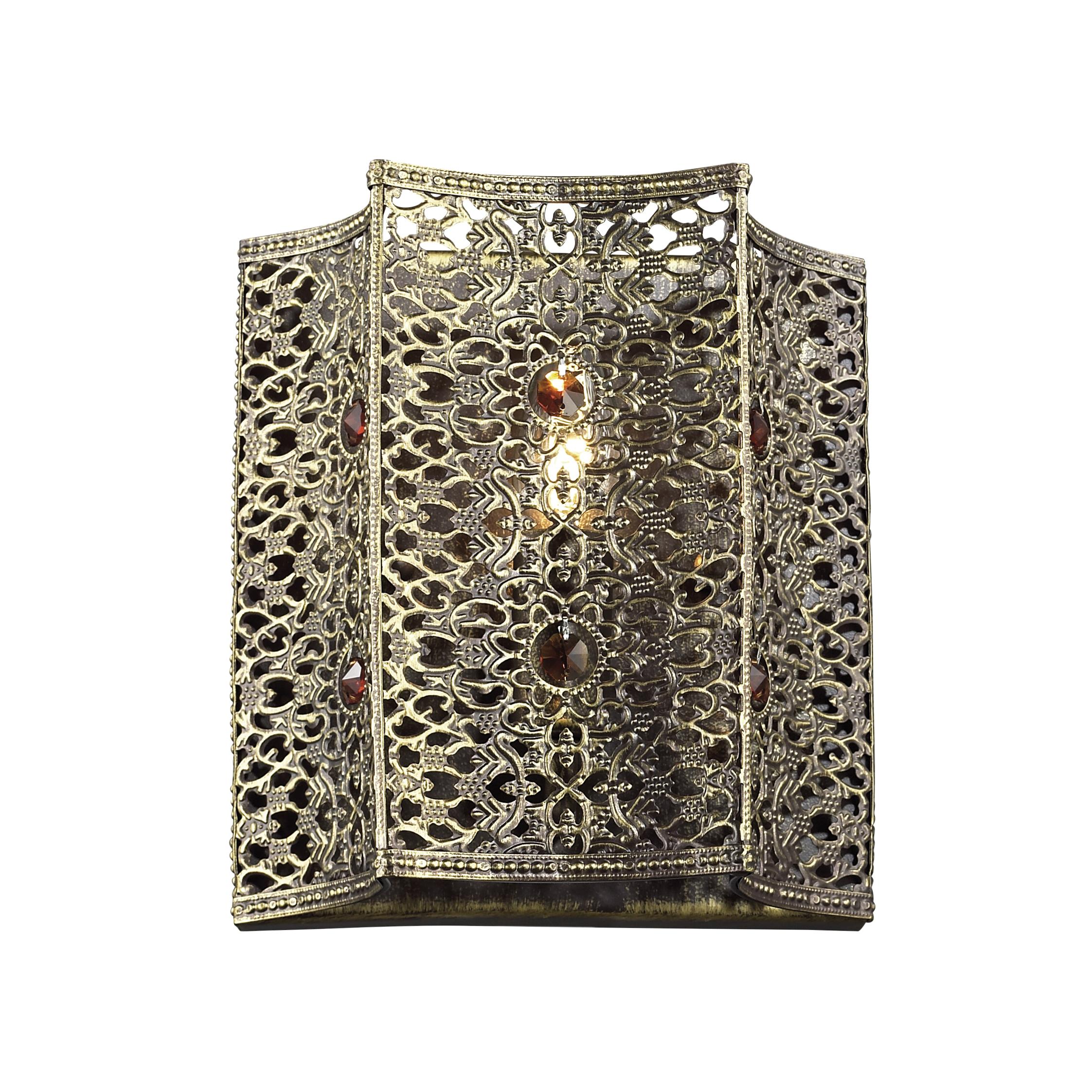 Настенный светильник Favourite Bazar 1624-1W, 1xE14x40W, черненое золото, коньячный, металл со стеклом/хрусталем - фото 1