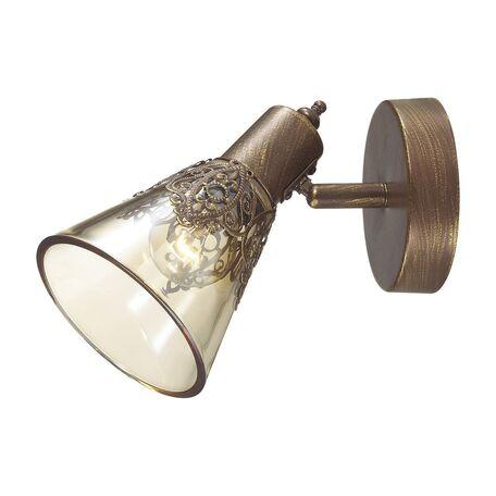 Настенный светильник с регулировкой направления света Favourite Gumbata 1795-1W, 1xE14x40W, коричневый с золотой патиной, коньячный, металл, стекло