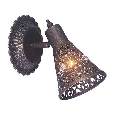Настенный светильник с регулировкой направления света Favourite Arabian Dream 1797-1W, 1xE14x40W, коричневый с золотой патиной, металл, металл с хрусталем