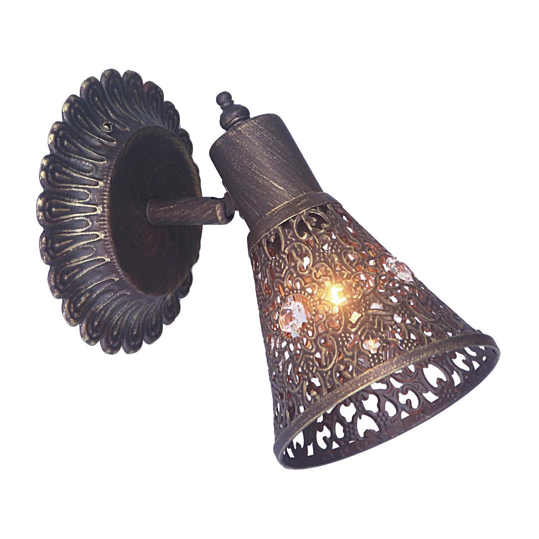 Настенный светильник с регулировкой направления света Favourite Arabian Dream 1797-1W, 1xE14x40W, коричневый с золотой патиной, металл, металл с хрусталем - фото 1