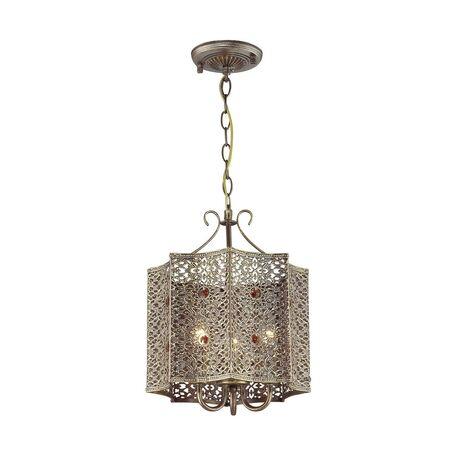 Подвесная люстра Favourite Bazar 1624-3P, 3xE14x40W, коричневый с золотой патиной, коньячный, металл, металл с хрусталем