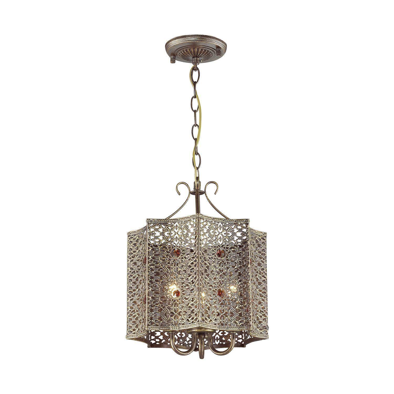 Подвесная люстра Favourite Bazar 1624-3P, 3xE14x40W, коричневый с золотой патиной, коньячный, металл, металл с хрусталем - фото 1