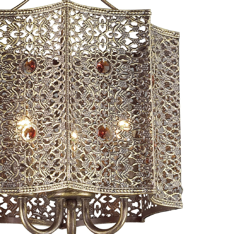 Подвесная люстра Favourite Bazar 1624-3P, 3xE14x40W, коричневый с золотой патиной, коньячный, металл, металл с хрусталем - фото 3