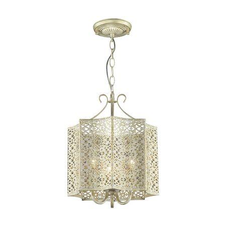 Подвесная люстра Favourite Bazar 1625-3P, 3xE14x40W, белый с золотой патиной, прозрачный, металл, металл с хрусталем