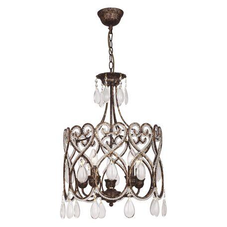 Подвесная люстра Favourite Modello 1744-5P, 5xE14x40W, коричневый с золотой патиной, белый, прозрачный, металл, ковка, металл с хрусталем, стекло